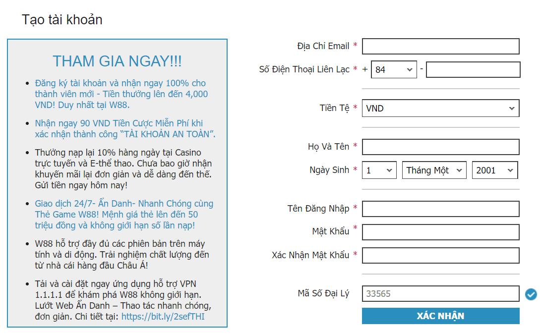 thông tin đăng ký w88